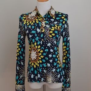 Tory Burch Silk Knit Print Pullover buttons Small
